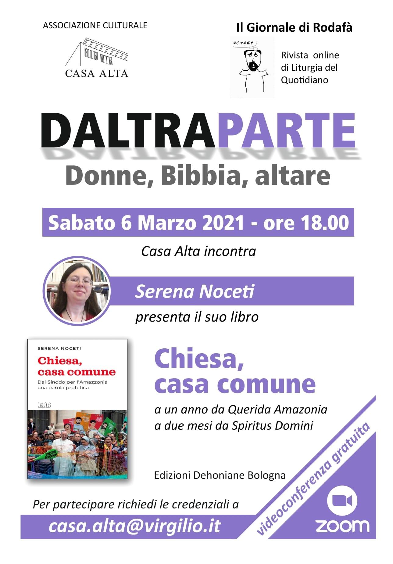 """06.03.2021, ONLINE: Presentazione pubblicazione """"Chiesa, casa comune"""" con Serena Noceti"""