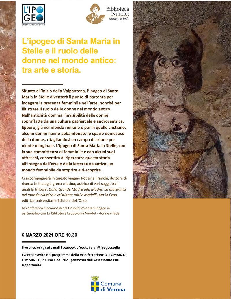 06.03.2021, ONLINE: L'ipogeo di Santa Maria in Stelle e il ruolo delle donne nel mondo antico: tra arte e storia
