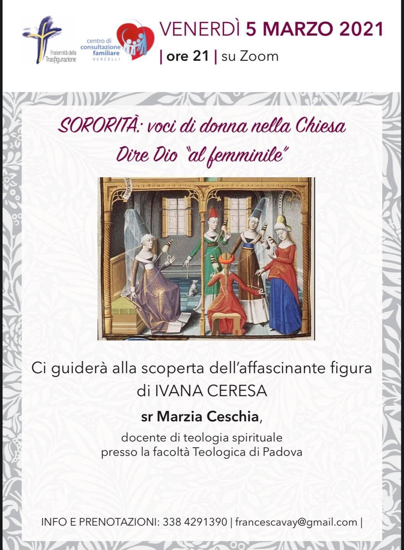"""05.03.2021, ONLINE: SORORITA': Voci di donna nella Chiesa. Dire Dio al """"femminile"""""""