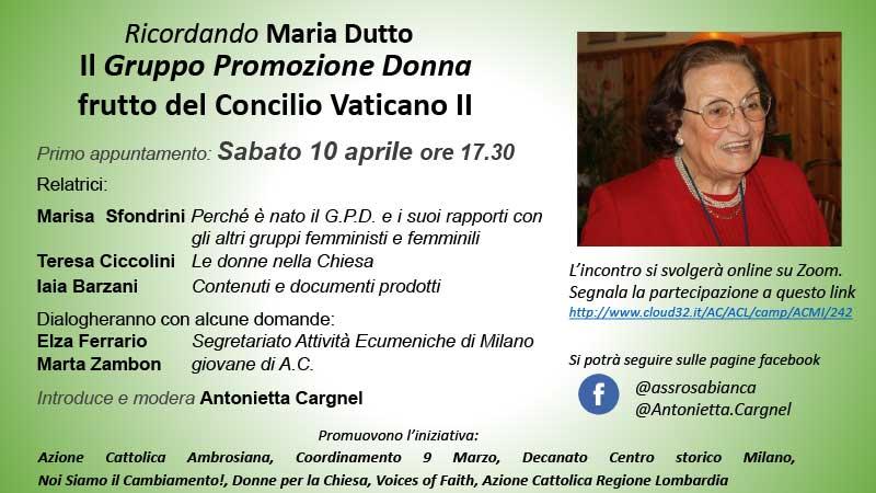 10.04.2021, ONLINE: Ricordando Maria Dutto