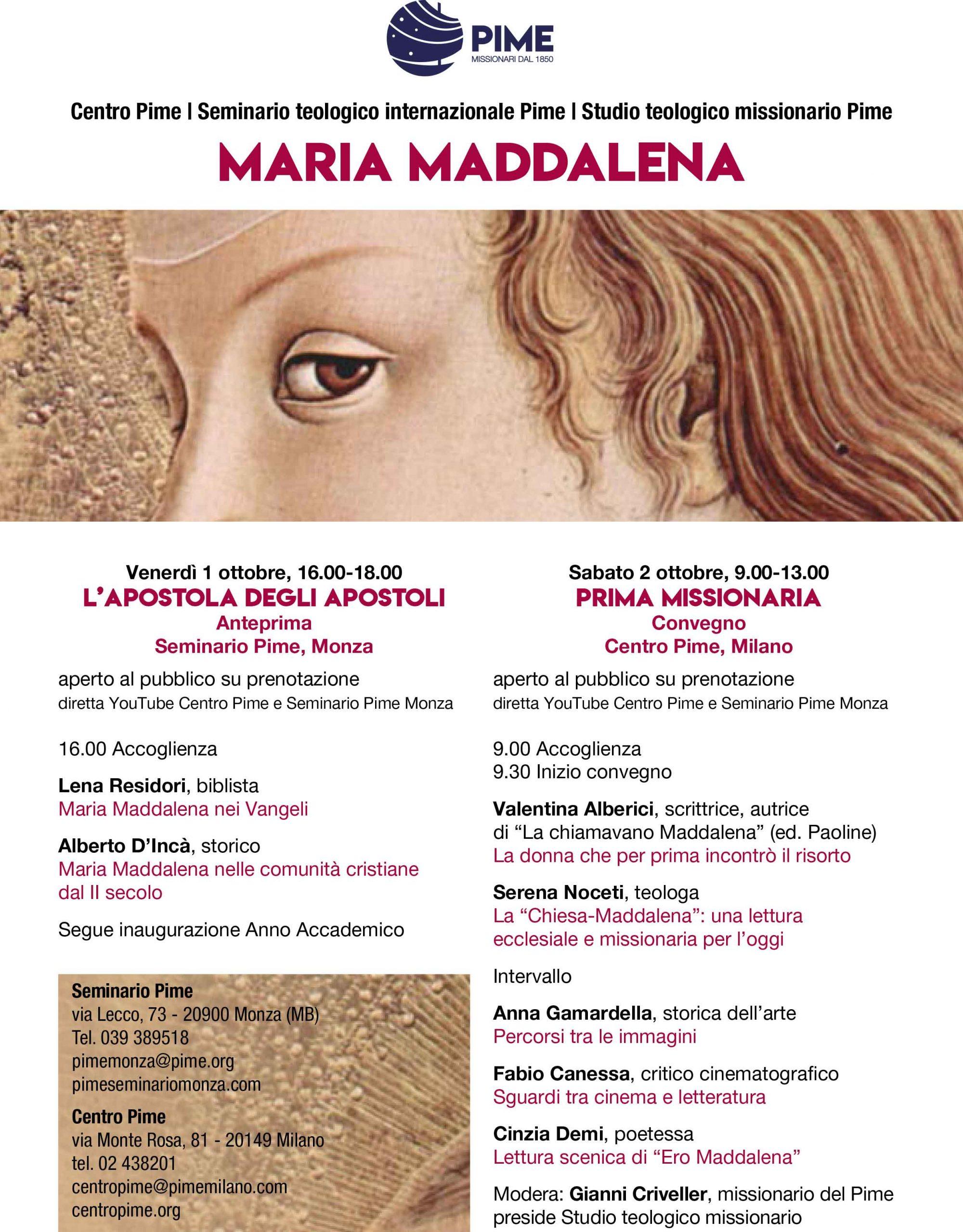 """01-02.10.2021, MONZA E MILANO: Seminario Teologico """"Maria Maddalena, prima missionaria"""""""