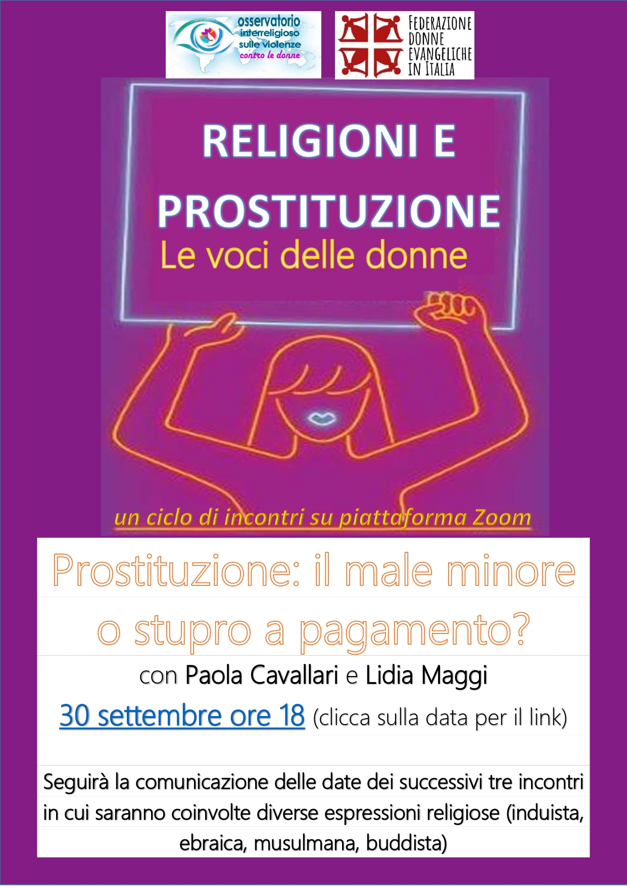 """30.09.2021, ONLINE: Ciclo di incontri """"Religioni e prostituzione. Le voci delle donne"""""""