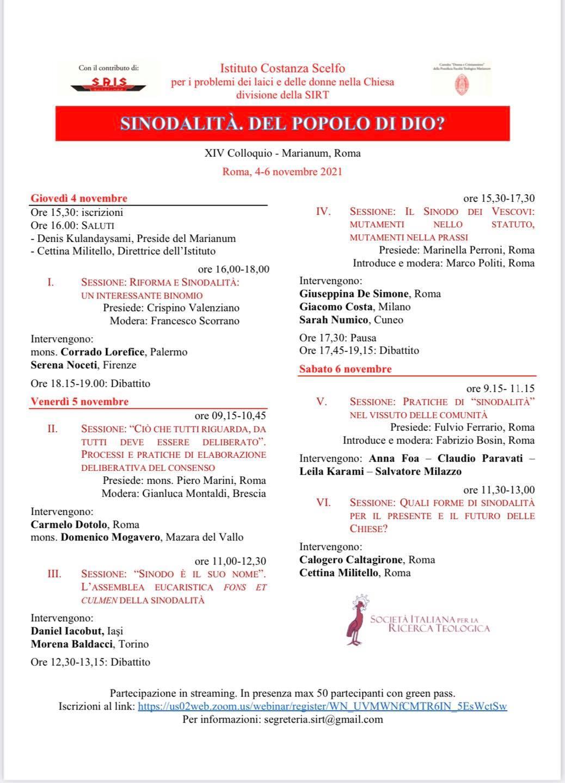 4-6.11.2021, ROMA: Sinodalità. Del popolo di Dio?