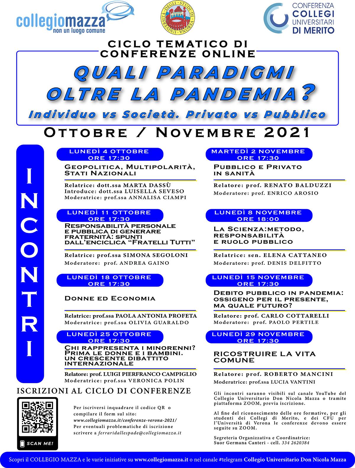 Ciclo di incontri online Ottobre / Novembre: Quali paradigmi oltre la pandemia?